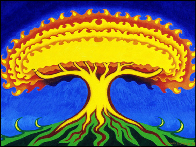 """Tree of Fire - Oil on canvas, 18"""" x 24"""", 200"""