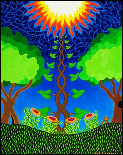 """4 Flowers, 3 Trees, 2 Mushrooms, 1 Sun - Oil on canvas, 24"""" x 30"""", 2004"""