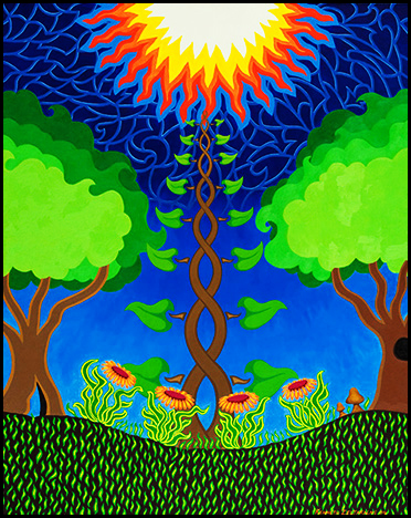 "4 Flowers, 3 Trees, 2 Mushrooms, 1 Sun - Oil on canvas, 24"" x 30"", 2004"