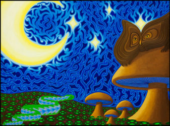 """Owl and Patterned Serpent - Oil on panel, 18"""" x 24"""", 2011"""
