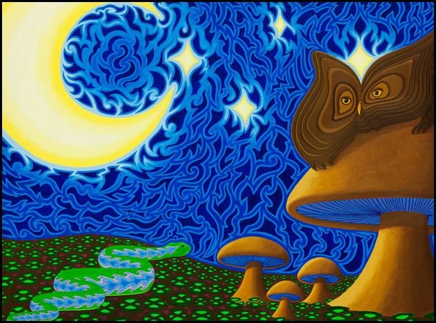 "Owl and Patterned Serpent - Oil on panel, 18"" x 24"", 2011"