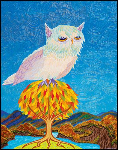 """Crystal Blue Owl - Oil on canvas, 18"""" x 24"""", 2013"""