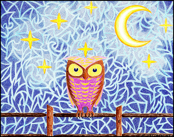 """Owl on Fence With Stars and Moon - Colored pencil on paper, 11"""" x 14"""", 2007"""